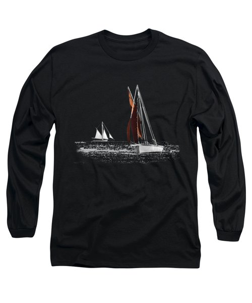 Isolated Yacht Carrick Roads On A Transparent Background Long Sleeve T-Shirt by Terri Waters