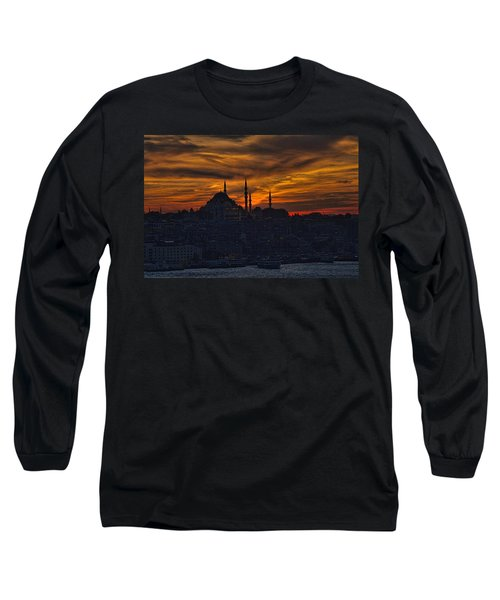 Istanbul Sunset - A Call To Prayer Long Sleeve T-Shirt by David Smith