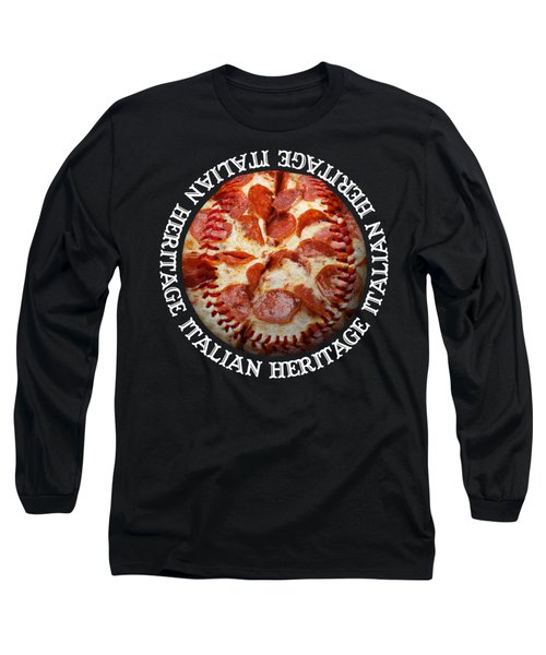 Italian Heritage Baseball Pizza Square Long Sleeve T-Shirt