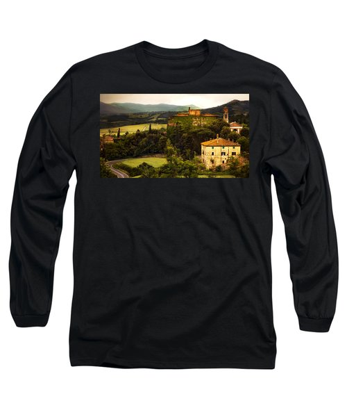 Italian Castle And Landscape Long Sleeve T-Shirt by Marilyn Hunt