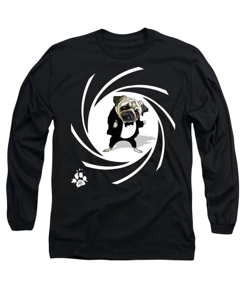 James Bond Pug Caricature Art Print Long Sleeve T-Shirt
