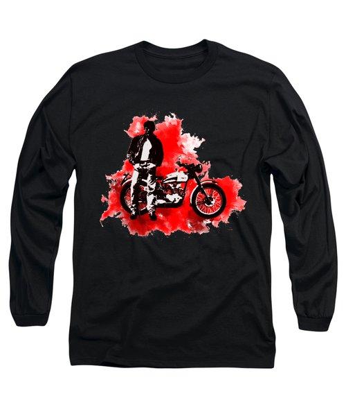 James Dean And Triumph Long Sleeve T-Shirt by Marlene Watson