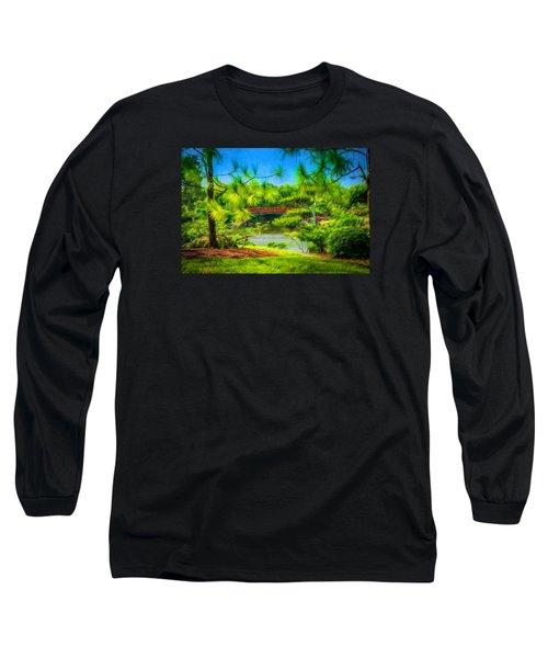Japanese Gardens  Long Sleeve T-Shirt by Louis Ferreira