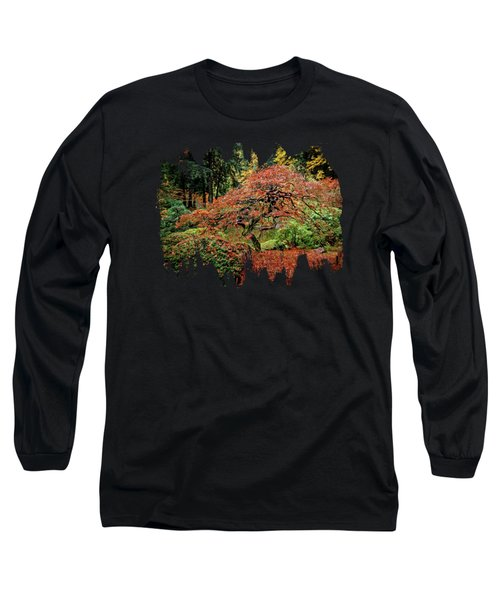Long Sleeve T-Shirt featuring the photograph Japanese Maple At The Japanese Gardens Portland by Thom Zehrfeld