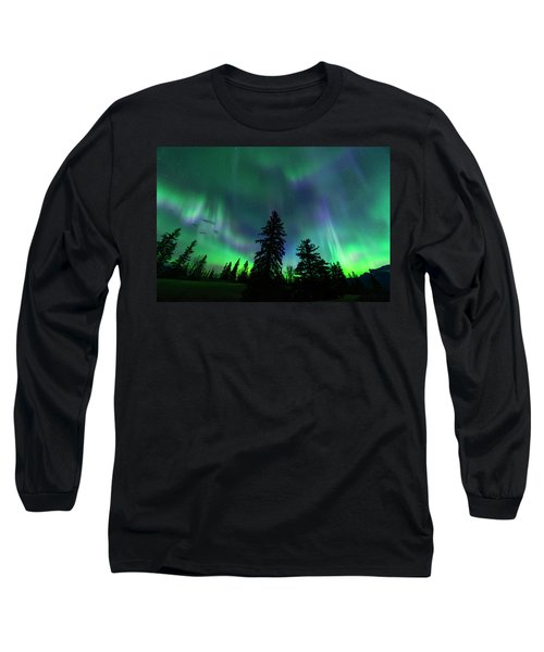 Long Sleeve T-Shirt featuring the photograph Jasper National Park Aurora by Dan Jurak