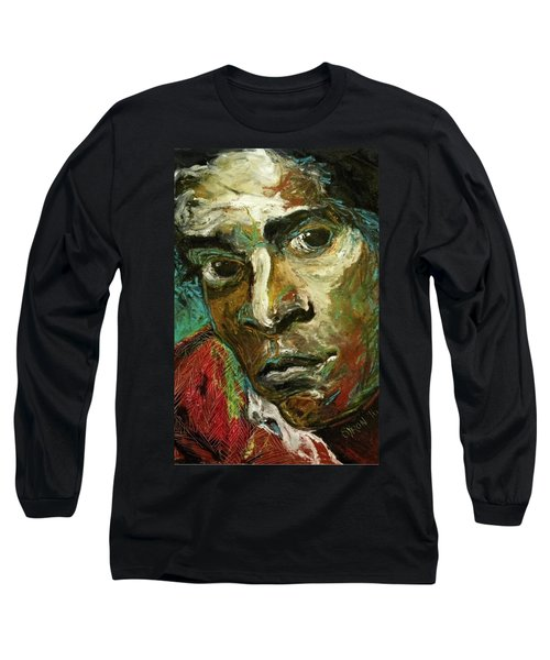 Long Sleeve T-Shirt featuring the painting Jean-michel Basquiat by Helen Syron
