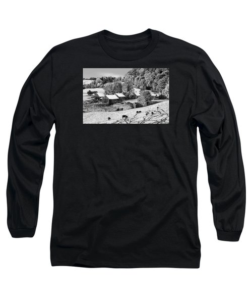 Long Sleeve T-Shirt featuring the photograph Jenne Farm In Autumn Black And White Scenic Landscape by Betty Denise
