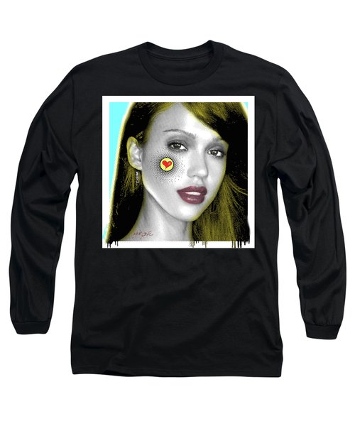 Jessica Alba Pop Art, Portrait, Contemporary Art On Canvas, Famous Celebrities Long Sleeve T-Shirt by Dr Eight Love