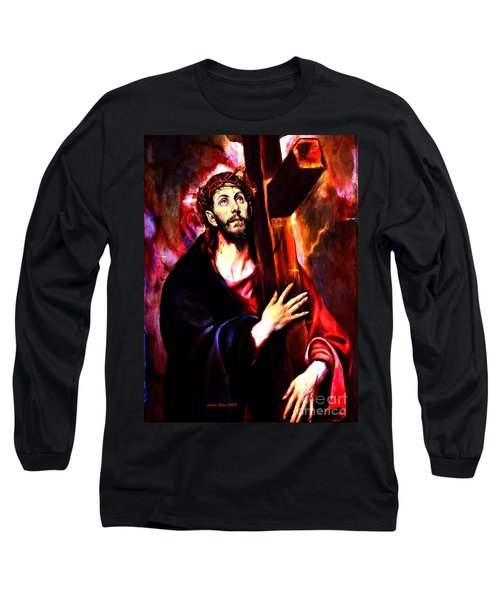 Long Sleeve T-Shirt featuring the painting Jesus Christ Carrying The Cross by Annie Zeno
