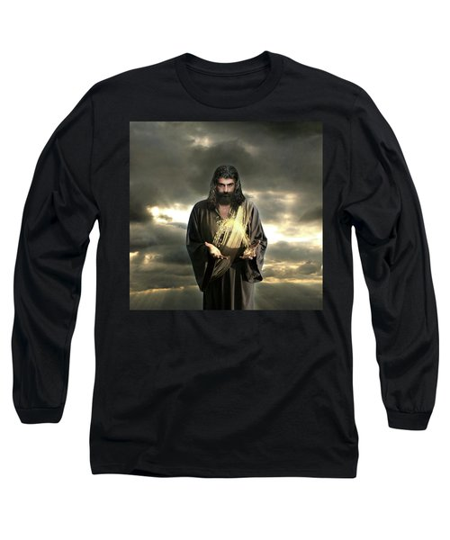 Jesus In The Clouds With Radiant Power Long Sleeve T-Shirt