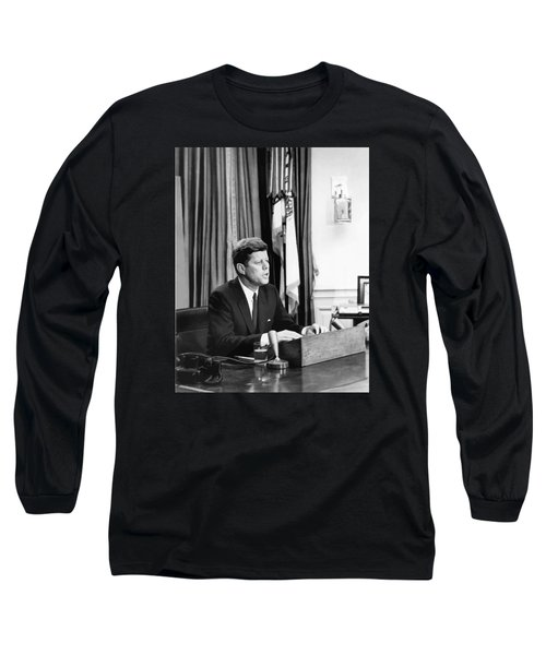 Jfk Addresses The Nation Painting Long Sleeve T-Shirt