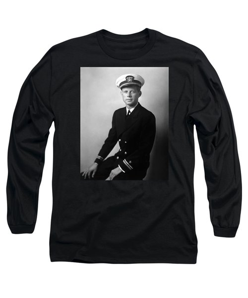 Jfk Wearing His Navy Uniform Painting Long Sleeve T-Shirt