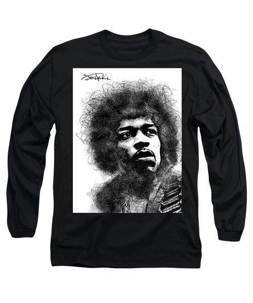 Jimi Hendrix Bw Scribbles Portrait Long Sleeve T-Shirt