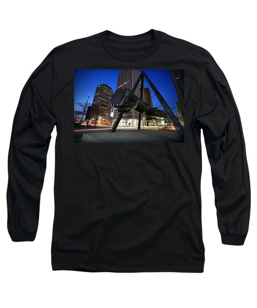 Joe Louis Fist Statue Jefferson And Woodward Ave. Detroit Michigan Long Sleeve T-Shirt by Gordon Dean II