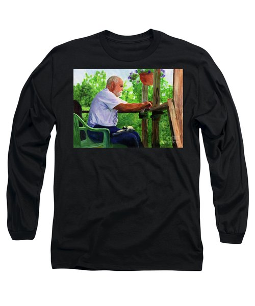 John Cleaning The Rifle Long Sleeve T-Shirt by Donna Walsh
