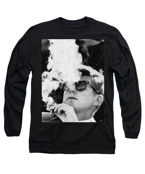 John F Kennedy Cigar And Sunglasses Black And White Long Sleeve T-Shirt