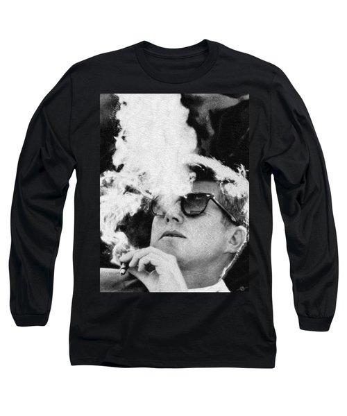 John F Kennedy Cigar And Sunglasses Black And White Long Sleeve T-Shirt