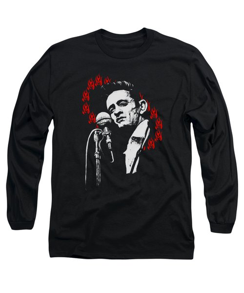 Johnny Cash Ring Of Fire T Shirt Print Long Sleeve T-Shirt by Melissa O'Brien