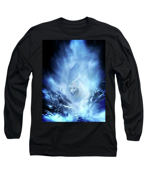 Jon Snow And Ghost - Game Of Thrones Long Sleeve T-Shirt by Lilia D