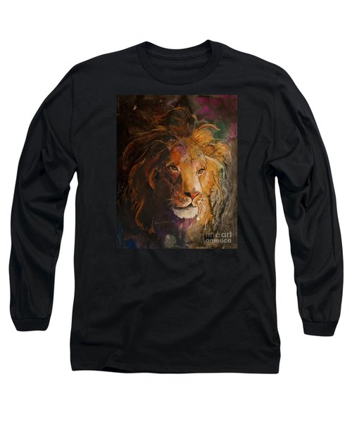 Long Sleeve T-Shirt featuring the painting Jungle Lion by Sherry Shipley