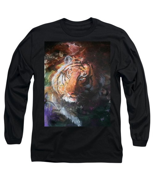 Long Sleeve T-Shirt featuring the painting Jungle Tiger by Sherry Shipley