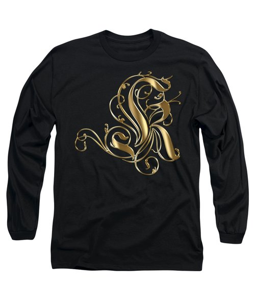 K Golden Ornamental Letter Typography Long Sleeve T-Shirt by Georgeta Blanaru