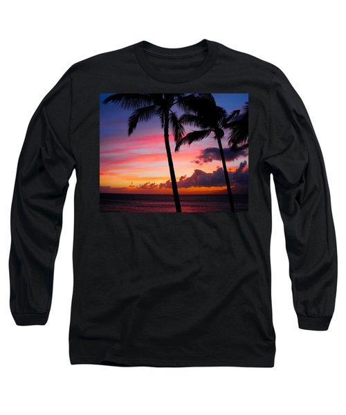 Kaanapali Sunset  Kaanapali  Maui Hawaii Long Sleeve T-Shirt by Michael Bessler