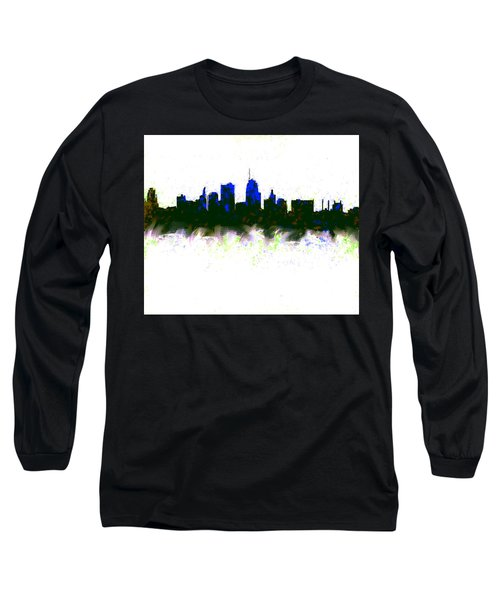 Kansas City Skyline Blue  Long Sleeve T-Shirt by Enki Art