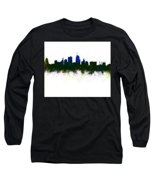 Kansas City Skyline Blue  Long Sleeve T-Shirt