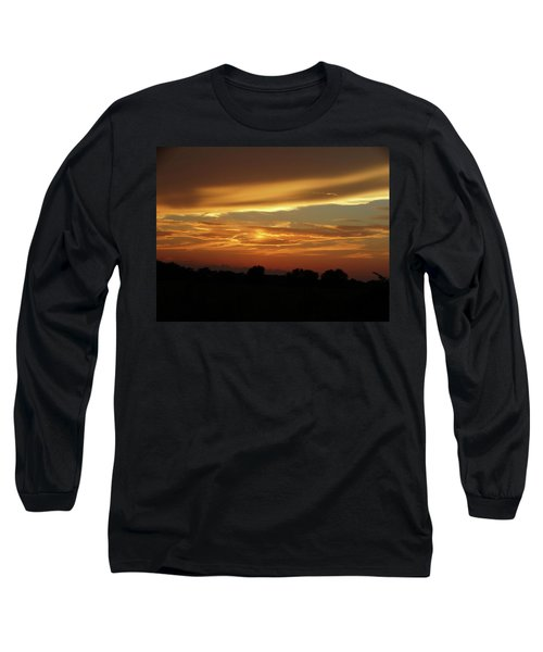 Kansas Summer Sunset Long Sleeve T-Shirt by Rebecca Overton