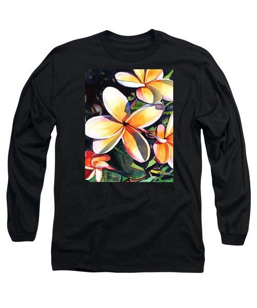 Kauai Rainbow Plumeria Long Sleeve T-Shirt by Marionette Taboniar