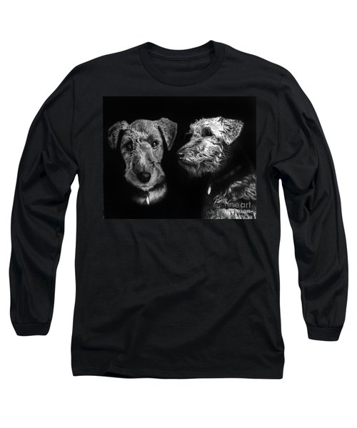 Long Sleeve T-Shirt featuring the drawing Keeper The Welsh Terrier by Peter Piatt