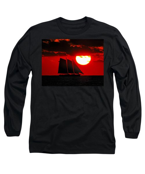 Key West Sunset Sail Silhouette Long Sleeve T-Shirt by Bob Slitzan