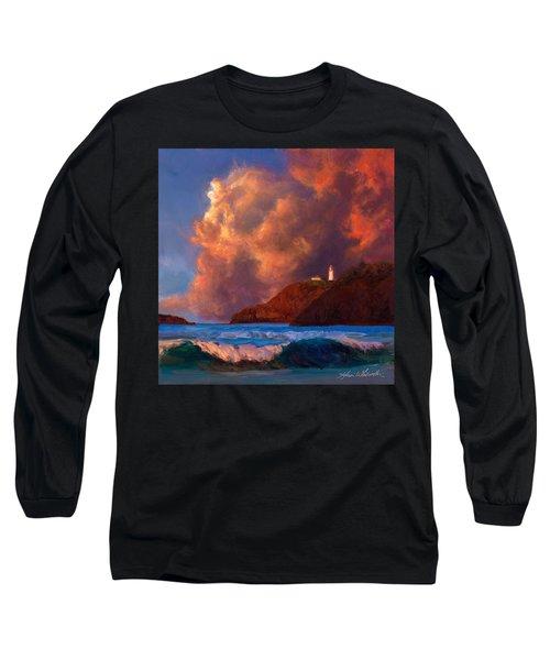 Kilauea Lighthouse - Hawaiian Cliffs Sunset Seascape And Clouds Long Sleeve T-Shirt