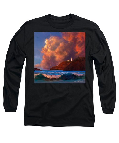 Kilauea Lighthouse - Hawaiian Cliffs Sunset Seascape And Clouds Long Sleeve T-Shirt