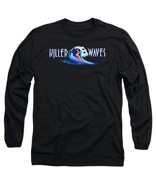 Killer Waves Skull Pink Long Sleeve T-Shirt