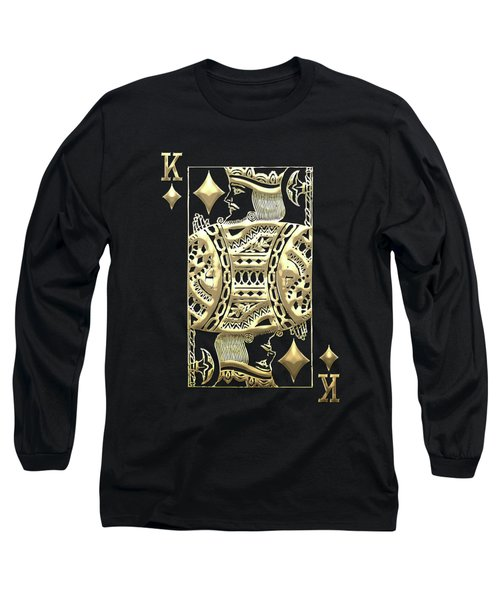King Of Diamonds In Gold On Black  Long Sleeve T-Shirt