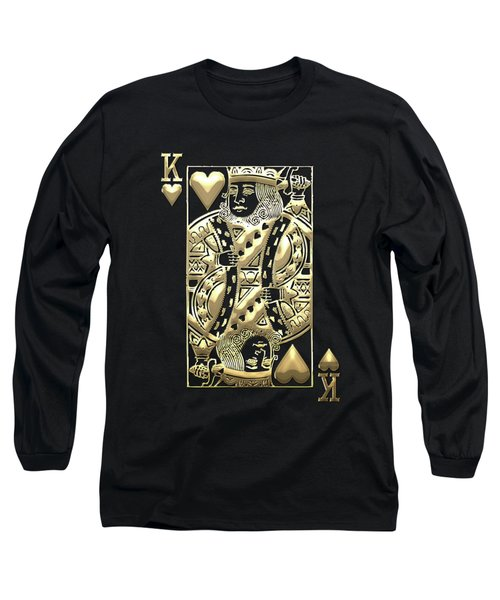 King Of Hearts In Gold On Black Long Sleeve T-Shirt