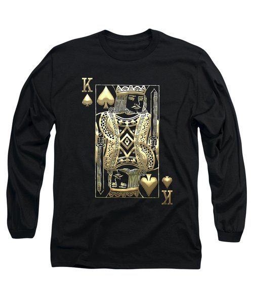 King Of Spades In Gold On Black   Long Sleeve T-Shirt