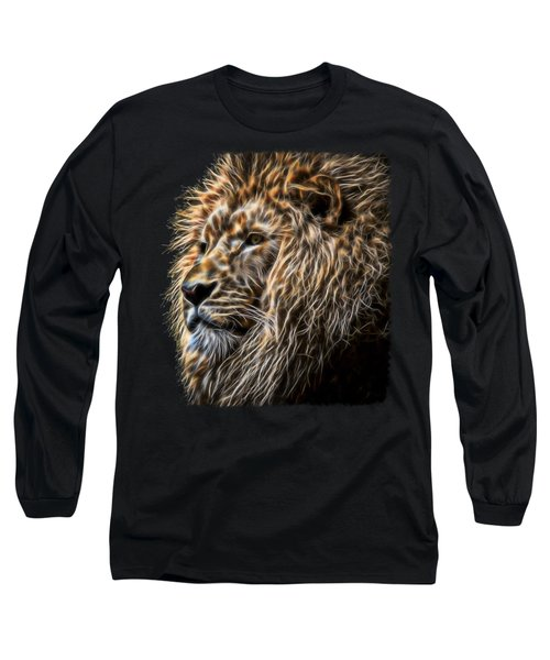 King Of The Jungle - Fractal Male Lion Long Sleeve T-Shirt