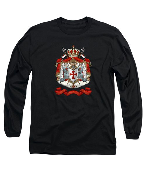 Knights Templar - Coat Of Arms Over Black Velvet Long Sleeve T-Shirt