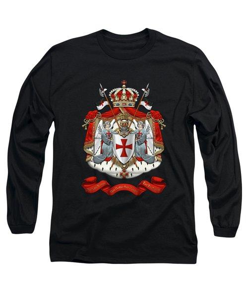 Knights Templar - Coat Of Arms Over Black Velvet Long Sleeve T-Shirt