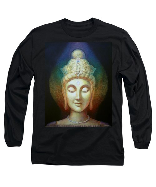 Long Sleeve T-Shirt featuring the painting Kuan Yin's Light by Sue Halstenberg