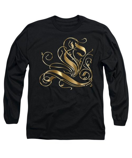 L Golden Ornamental Letter Typography Long Sleeve T-Shirt by Georgeta Blanaru