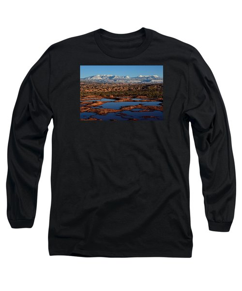 La Sal Mountains And Ephemeral Pools Long Sleeve T-Shirt