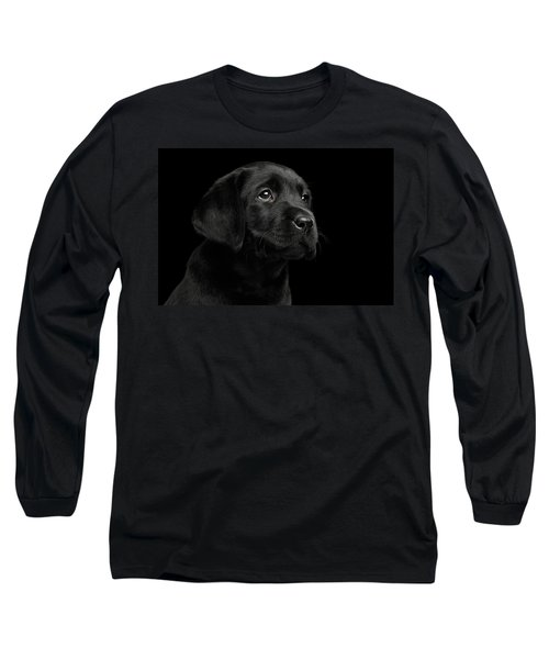 Labrador Retriever Puppy Isolated On Black Background Long Sleeve T-Shirt
