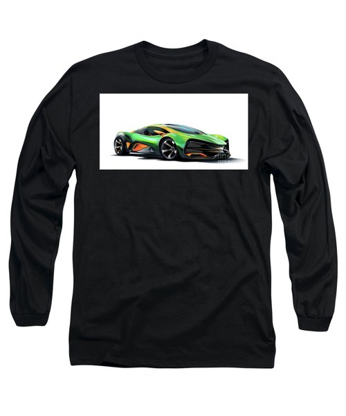 Long Sleeve T-Shirt featuring the drawing Milan Red by Brian Gibbs