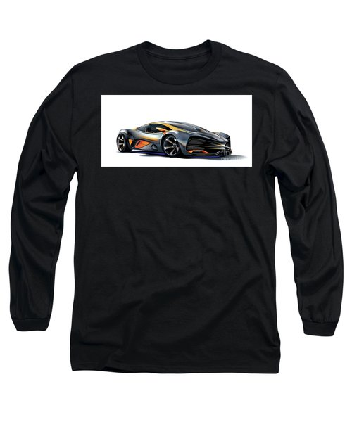 Long Sleeve T-Shirt featuring the drawing Milan Red Vector Art by Brian Gibbs