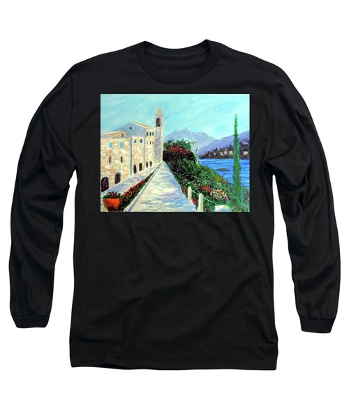 Long Sleeve T-Shirt featuring the painting Lake Como Colors  by Larry Cirigliano
