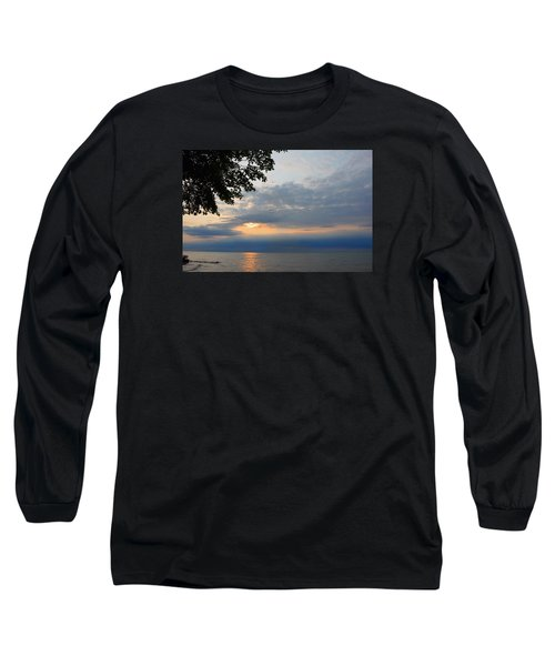Lake Erie Sunset Long Sleeve T-Shirt by Lena Wilhite